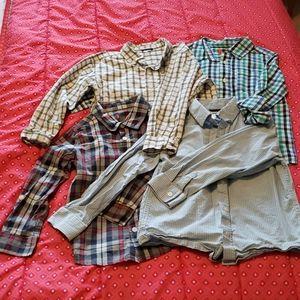4/20 Boys Plaid long sleeve button down - Size 5/6
